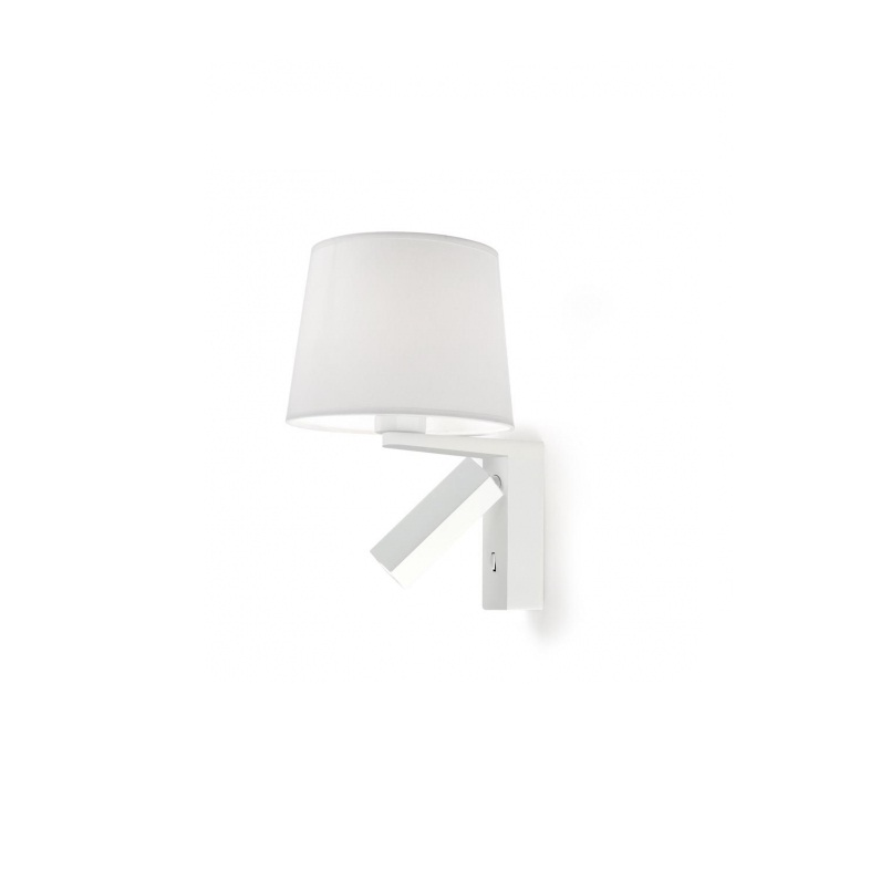 Hall (Solo Structure) Wall Lamp Doble without lampshade E27 1x60w + lector LED 1x3w - White mate