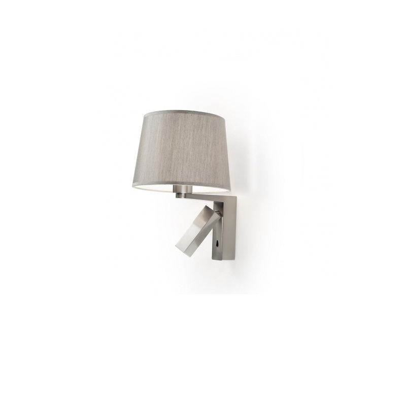 Hall (Solo Structure) Wall Lamp Doble without lampshade E27 1x60w + lector LED 1x3w - Ní­quel Satin