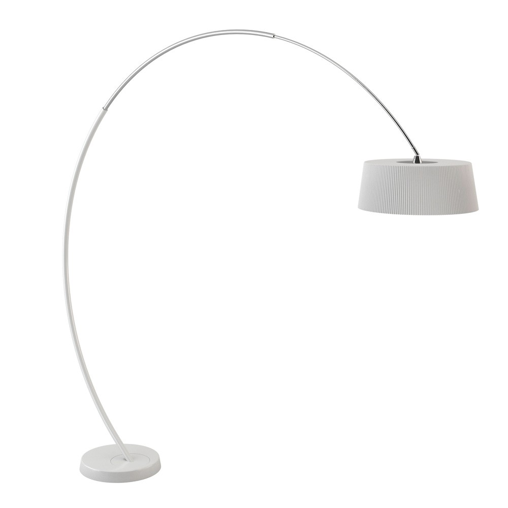 Hoop Floor Lamp 212cm with switch 3xE27 Max 23W - lampshade plisada poliuretano white matt