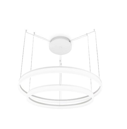 Circ Suspension circulaire Double 80-100cm LED 67W - Blanc mate