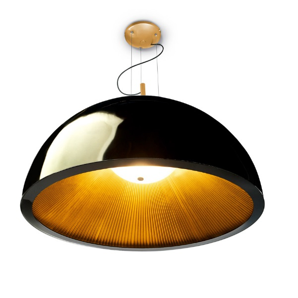 Umbrella Pendant Lamp 3xE27 MAX 23W 100cm - indoor plisado Golden Lacquered Black
