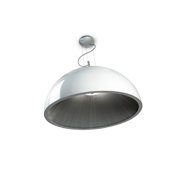 Umbrella Lámpara Colgante 3xE27 MAX 23W 100cm - Interior plisado Plata Lacado blanco