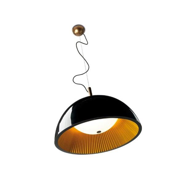 Umbrella Lámpara Colgante 3xE14 MAX 11W 60cm - Interior plisado Dorado Lacado negro