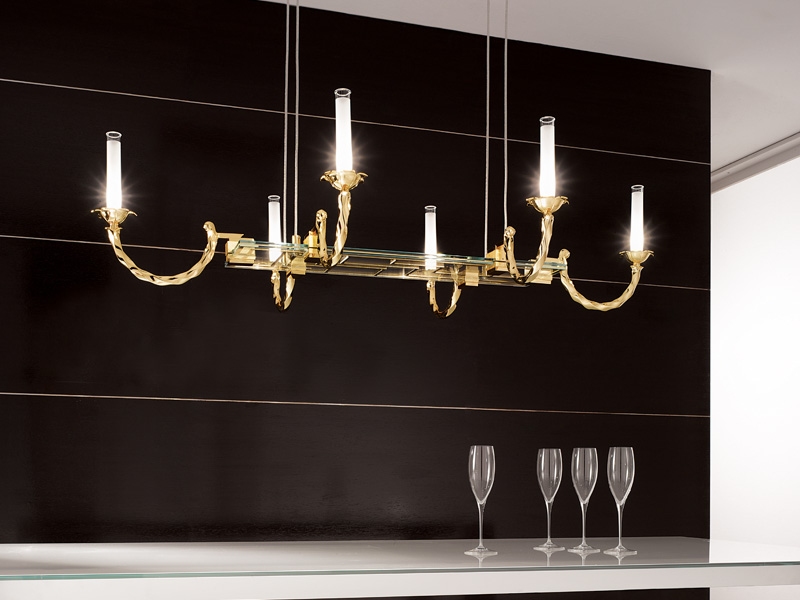 Corda Pendant Lamp rectangular Gold Glass 6x35W