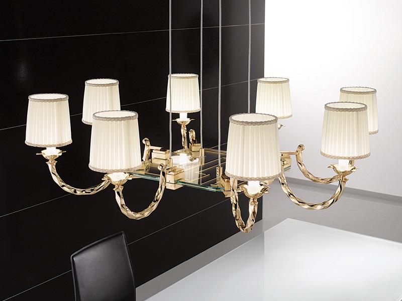 Corda Pendant Lamp Octogonal C/PARAL.ORO Glass 8x35W