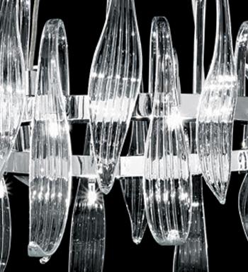 Foglia Pendelleuchte runde Chrom Murano weiß 16x20W