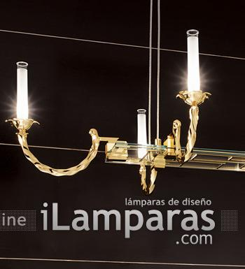 Corda Pendant Lamp Octogonal Gold Glass 8x35W