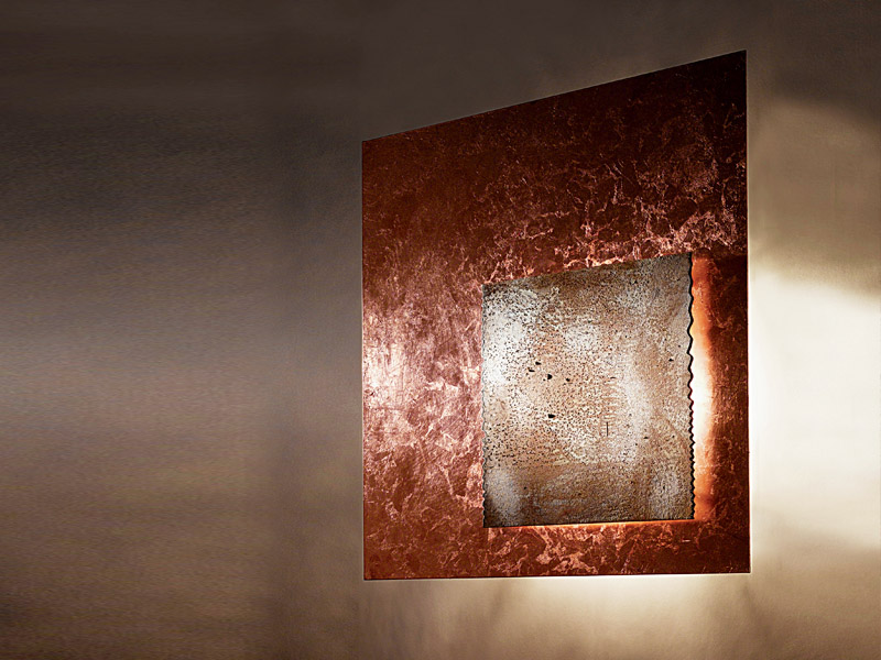 Piastra Wall Lamp 50x50 Silver Leaf RUGGINE