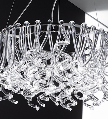 Truciolo large Pendant Lamp chromed Glass SATINAT.14x20W