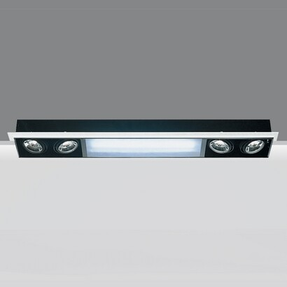 luminary minimal 4 bodies opticos and Module fluor with electronic equipment 4xpar30s 75w 230v E27 1xtc l 55w 2g11