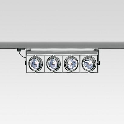 Cestello spot Grande para raíl 4 corpos com transformadores electrónicos 4x100W 12 V QR-111