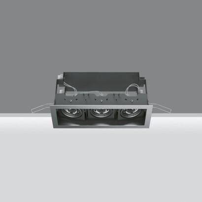Deep Frame Empotrable Orientable de 3 Cuerpos ópticos 2x20W HIT (C dimmable Tm) + 50W 12 V QR-CBC 51