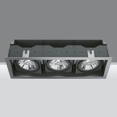 Deep Frame Empotrable Orientable de 3 Cuerpos ópticos 2x35/70W HIT (C dimmable T) + 75W 12 V QR-111