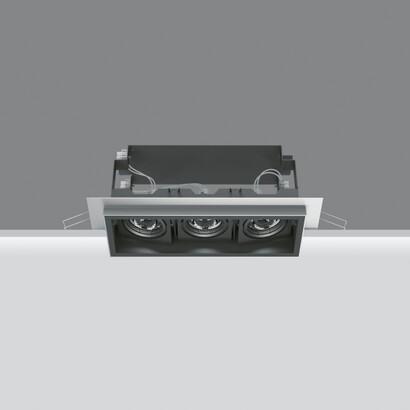 Deep Minimal Empotrable Orientable de 3 Cuerpos ópticos 3x(3x2,2 W) LED blanco cálido