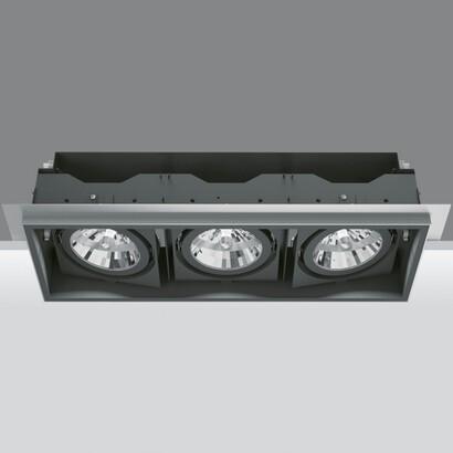 Deep Minimal Empotrable Orientable de 3 Cuerpos ópticos 2x35/70W HIT (C dimmable T) + 75W 12 V QR-111