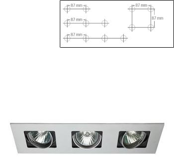 CLIFF square recessed 3xQR CB 50W white