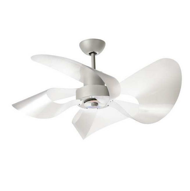 Soffio Fan 100cm without light 4 blades Satin with remote - Grey