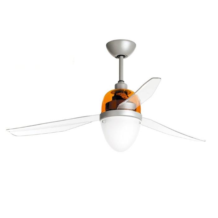 Swing ECO Ventilador 127cm luz 25w 3 aspas Transparentes con mando - gris/Naranja