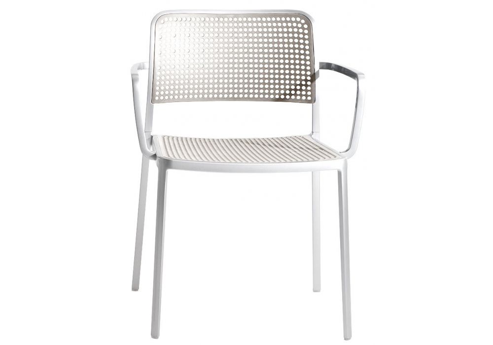 Audrey Shiny chair with arms Aluminium Shiny indoor/outdoor (2 units packaging)