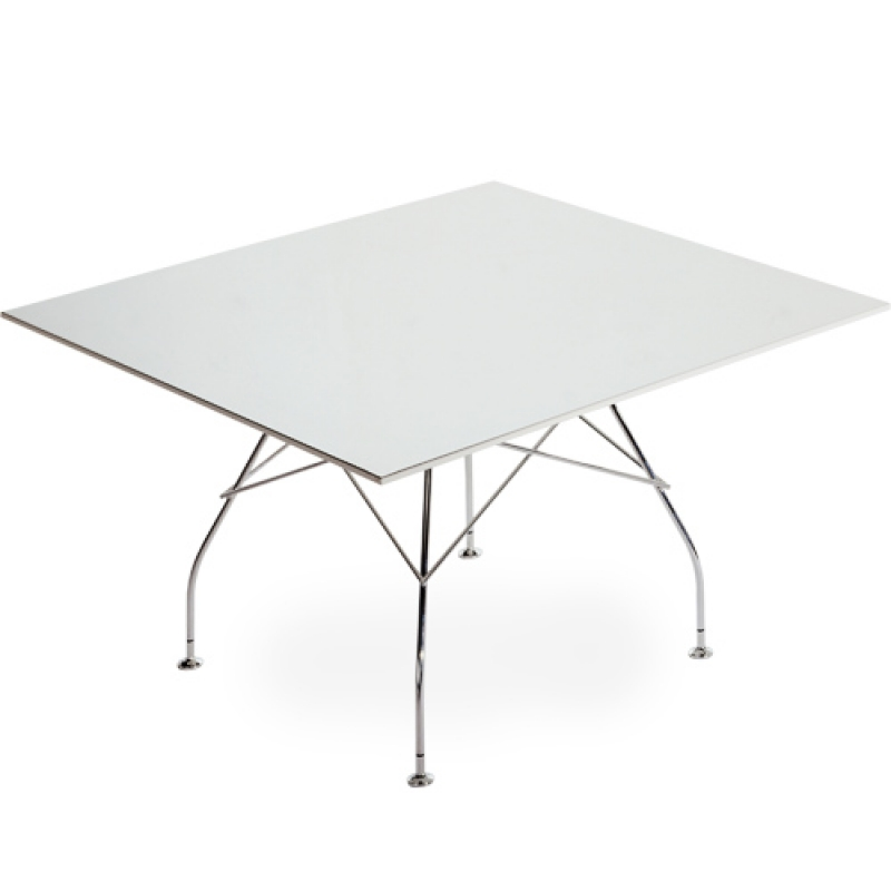 Glossy table square legs steel chromed 130x130cm poliester
