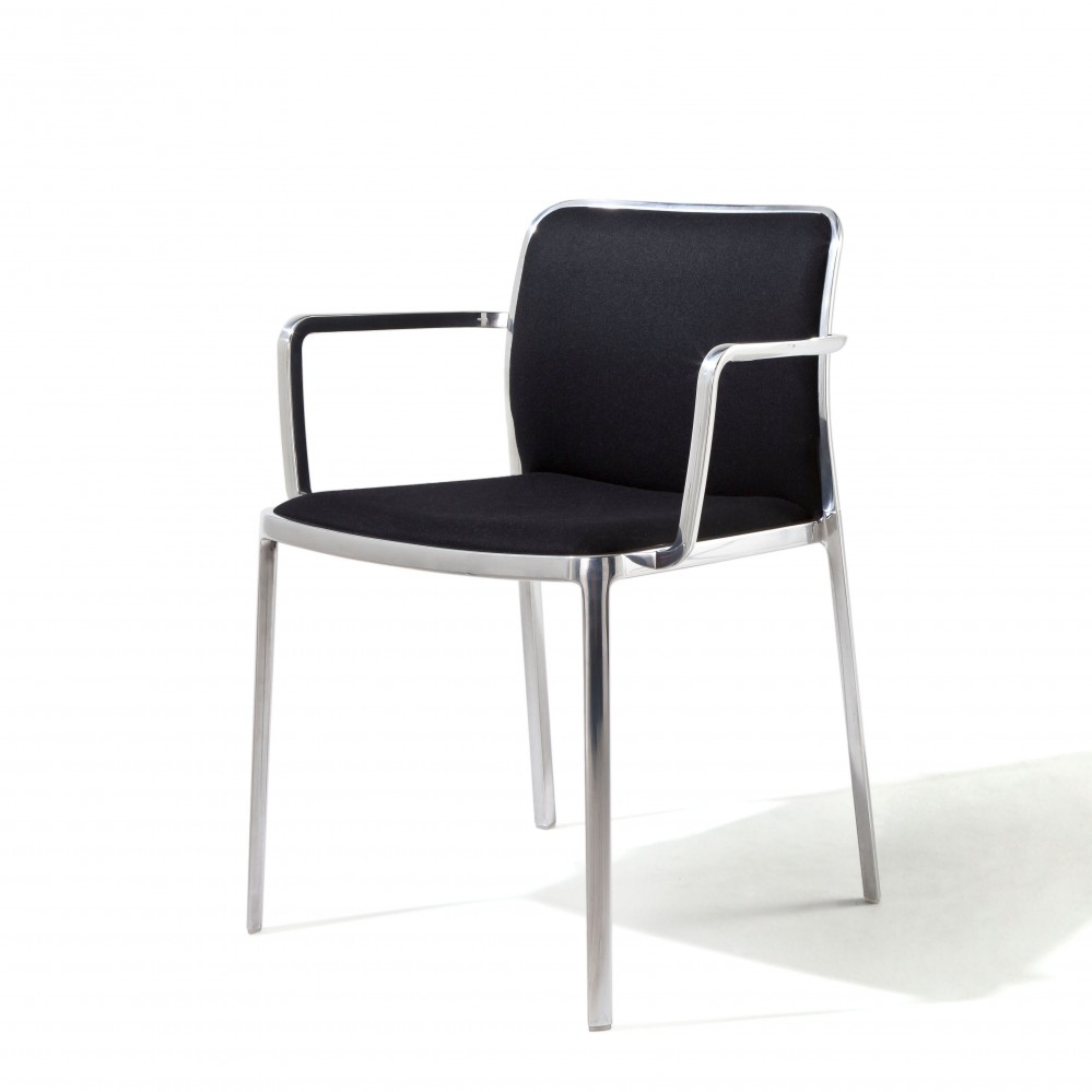 Audrey Soft chair with arms Aluminium Shiny (2 units packaging) Fabric Trevira