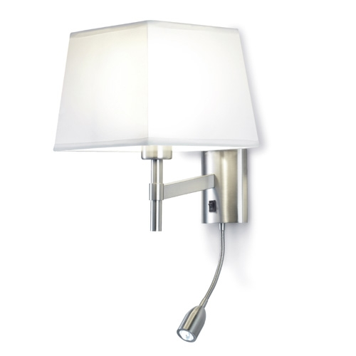 Bristol (Solo Structure) Wall Lamp Reading without lampshade 16,5x17,4x12cm PL E E27 15w + 1LED 3w Nickel Satin