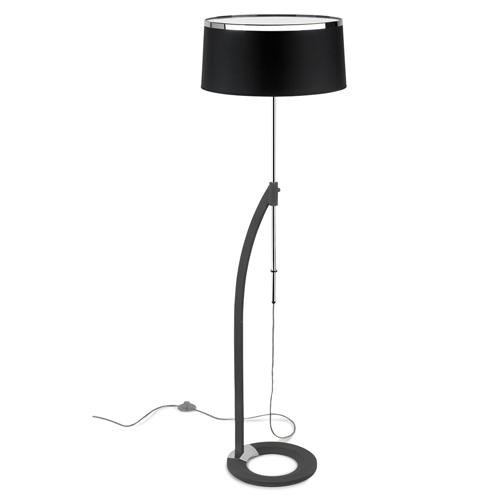Virginia Lámpara de Pie 3xE27 16W - Cromo gris urbano Difusor negro opal brillo