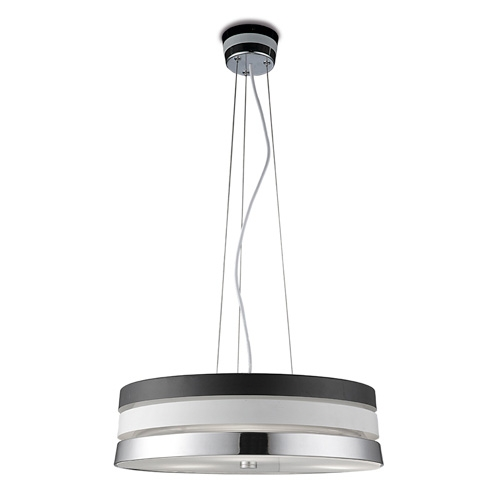 Cumbia Suspension 43x150cm 3xPL E E27 20w 2700K Noir/Chrome/blanc