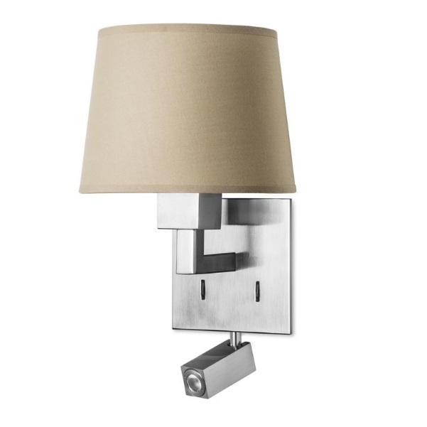 Bali (Solo Structure) Wall Lamp without lampshade 1xE27 max 60W + LED 2,2w - Nickel Satin