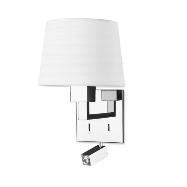 Bali (Solo Structure) Wall Lamp without lampshade 1xE27 max 60W + LED 2,2w - Chrome