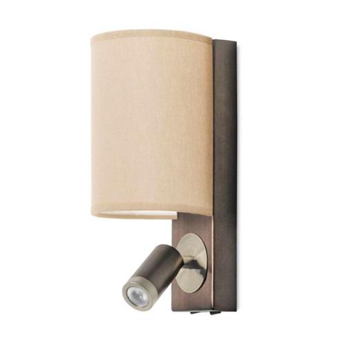 Buc Applique LED + 2 abat-jour beige et blanc - Aluminium