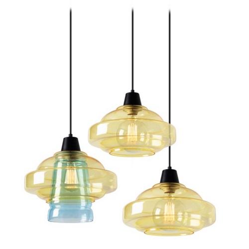 Color Lamp Pendant Lamps 3xE27 MAX 60W - Black Matt Diffuser Yellow and Blue