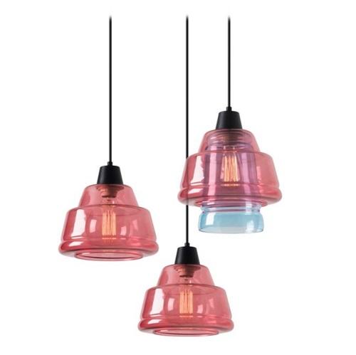 Color Lamp Pendant Lamps 3xE27 MAX 60W - Black Matt Diffuser pink and Blue