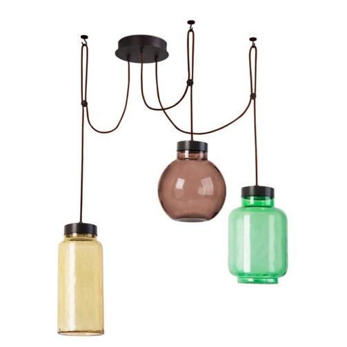 Raw Lámpara Colgante 3xLED Cree 36W - Marrón Oscuro Difusores Amarillo, Verde y marrón