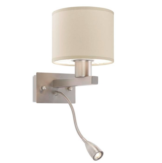 Torino (Solo Structure) Wall Lamp without lampshade 1x13w E27 + lector 3w LED - Nickel Satin