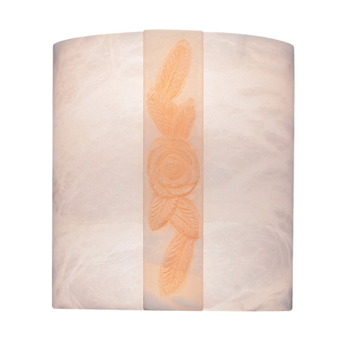Wall Lamp white Alabaster white with talla orange