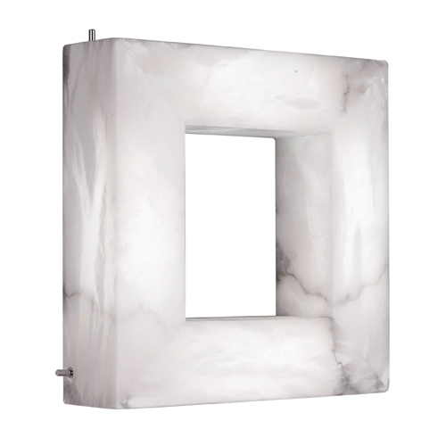 Wandleuchte Evolution Square Chrom Alabaster weiß