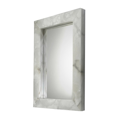 espejo Evolution rectangular Cromo Alabastro blanco