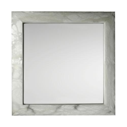 espejo Evolution Cuadrado Cromo Alabastro blanco