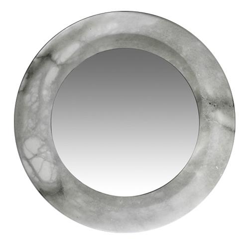 espejo Evolution Redondo Pequeño blanco Alabastro blanco