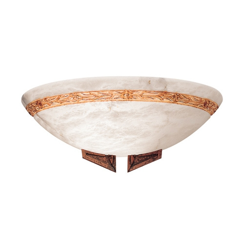 Axe Wall Lamp Brown Alabaster white with talla Brown