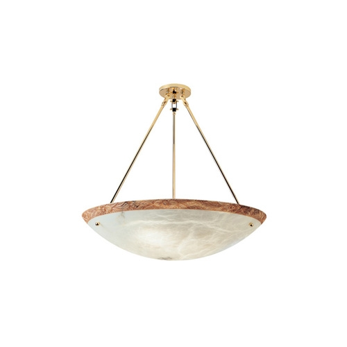Pendant Lamp Gold Alabaster white with talla Brown