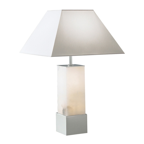 Table Lamp Evolution Pyramid Níquel Satin pintado Alabaster white without lampshade