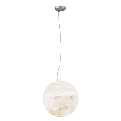 Pendant Lamp Moon Níquel Satin Alabaster white