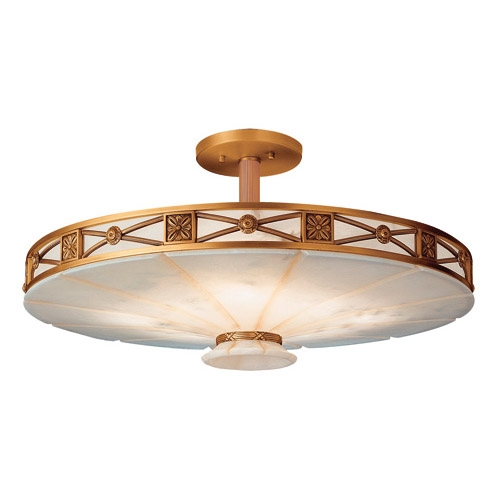 ceiling lamp 8l Muse Patine rojizo Alabaster white with talla beige