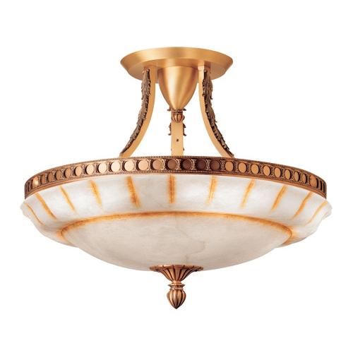plafonnier Patine rojizo Albâtre avec talla rustica