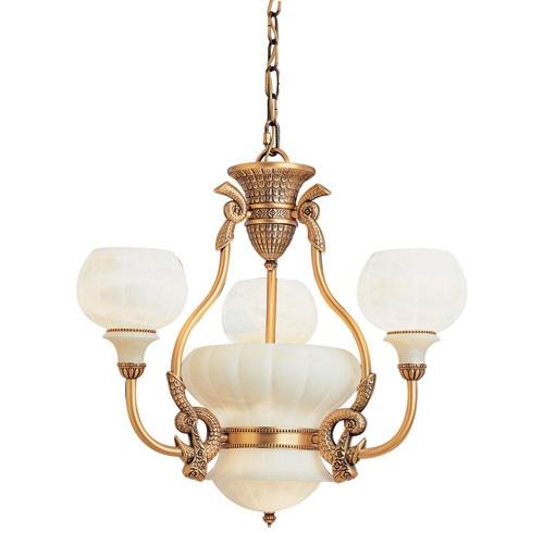 Lámpara 5L Calyx Patine rojizo Alabastro blanco
