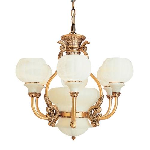 Lámpara 7l Calyx Patine rojizo Alabastro blanco