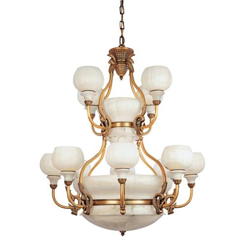 Lámpara 18l Calyx Patine rojizo Alabastro blanco