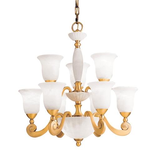 Lámpara 11l Venezia Patine rojizo Alabastro blanco